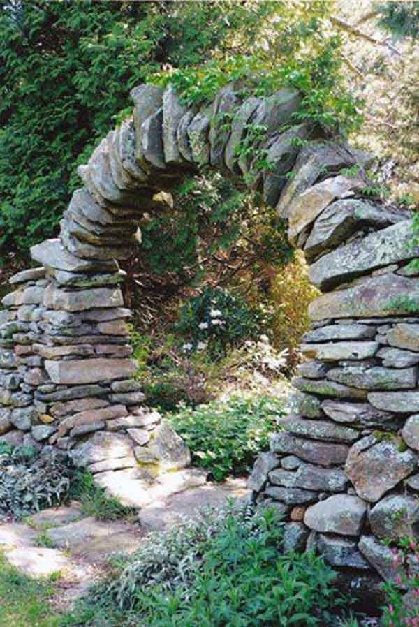 portillon de jardin rond en pierre