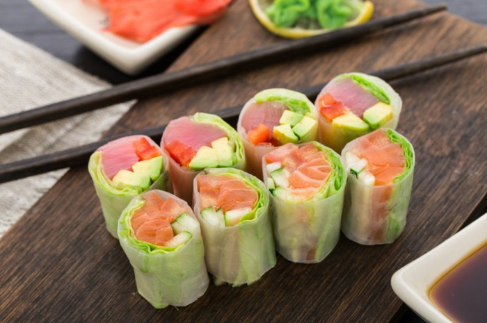 préparation facile recette rouleau de printemps au saumon fumé