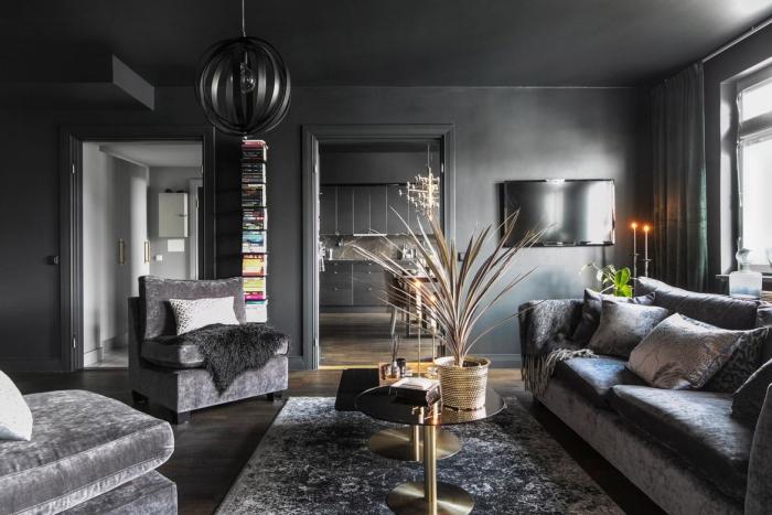psychologie des couleurs murs et plafond en gris foncé