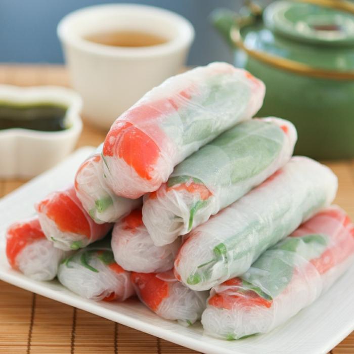 recette rouleau de printemps au saumon fumé