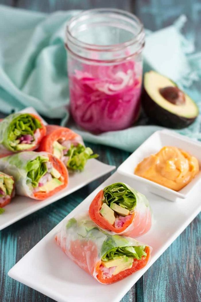 recette rouleau de printemps au saumon