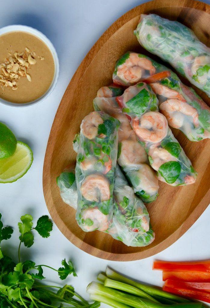 recette rouleau de printemps aux crevettes et légumes