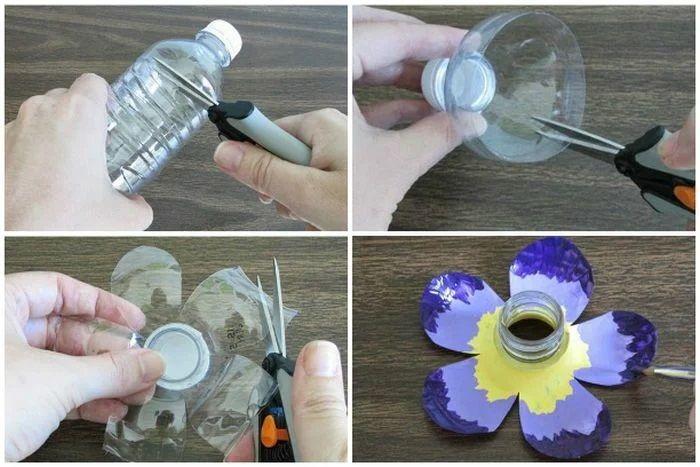 étapes à suivre pour bricoler une fleur en plastique recyclage bouteille plastique