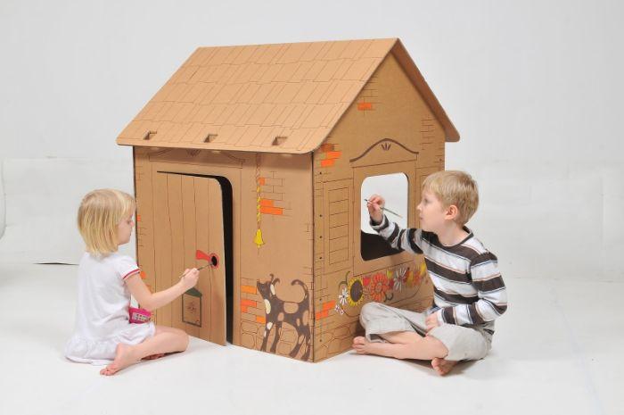 cabane intérieur enfant en carton diy