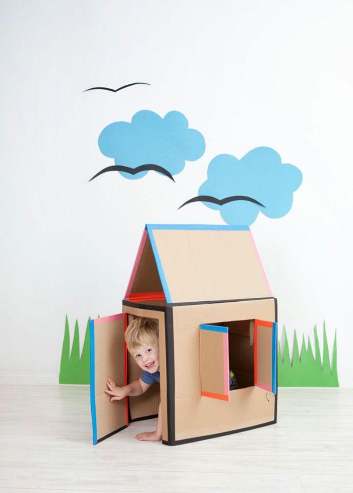 cabane intérieur enfant en carton diy idée facile à faire