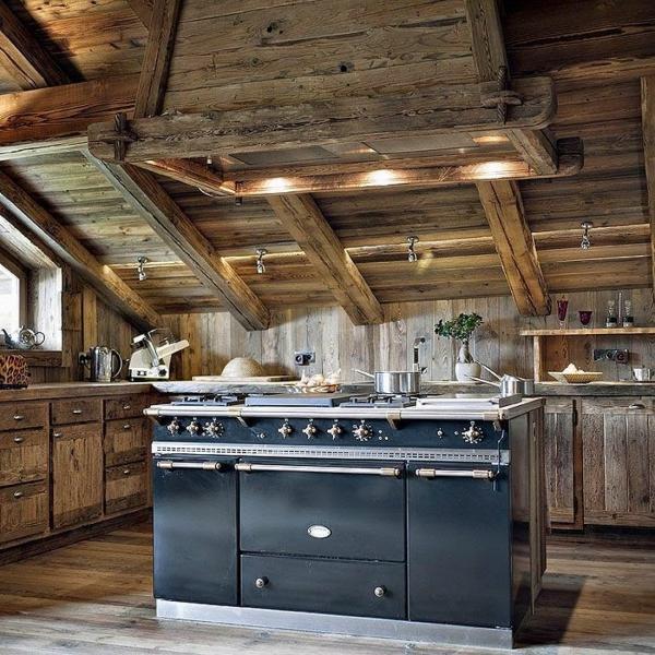 cuisine chalet îlot de cuisine vintage