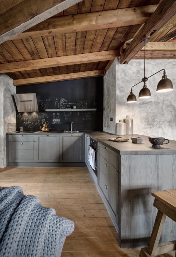 cuisine chalet des armoires gris cendré