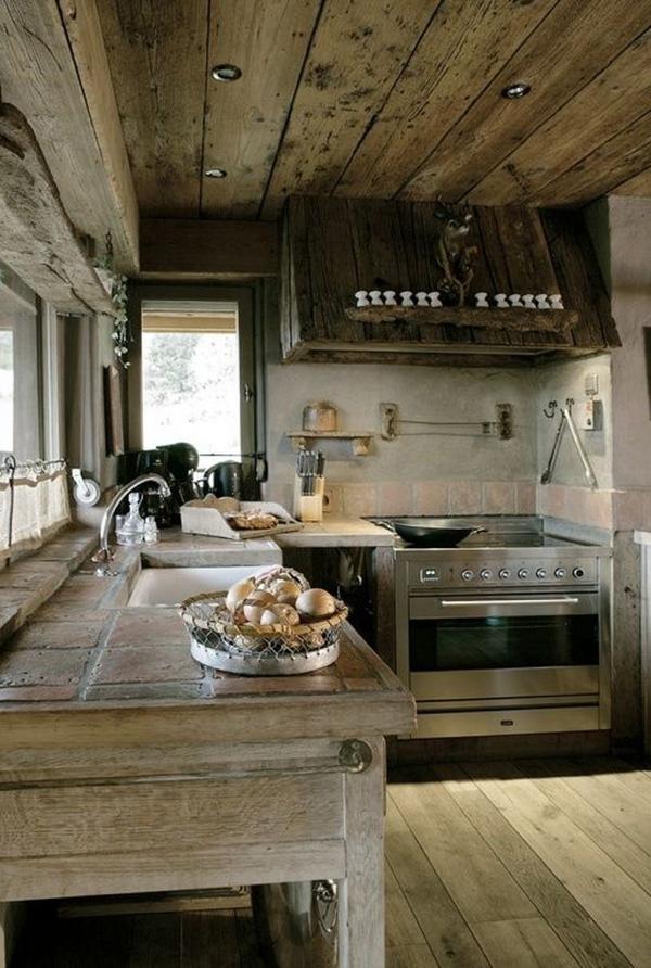 cuisine chalet en bois brut
