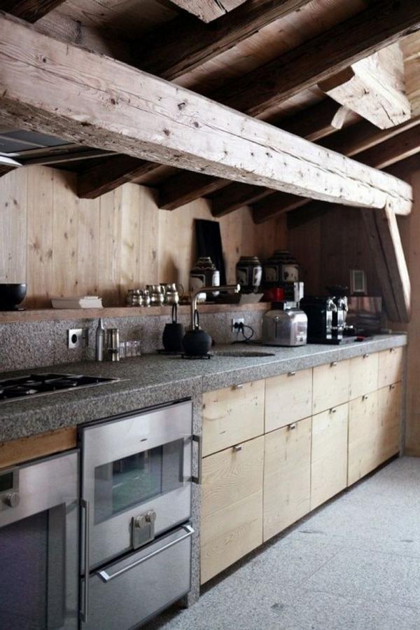 cuisine chalet fait avec des poutres en bois