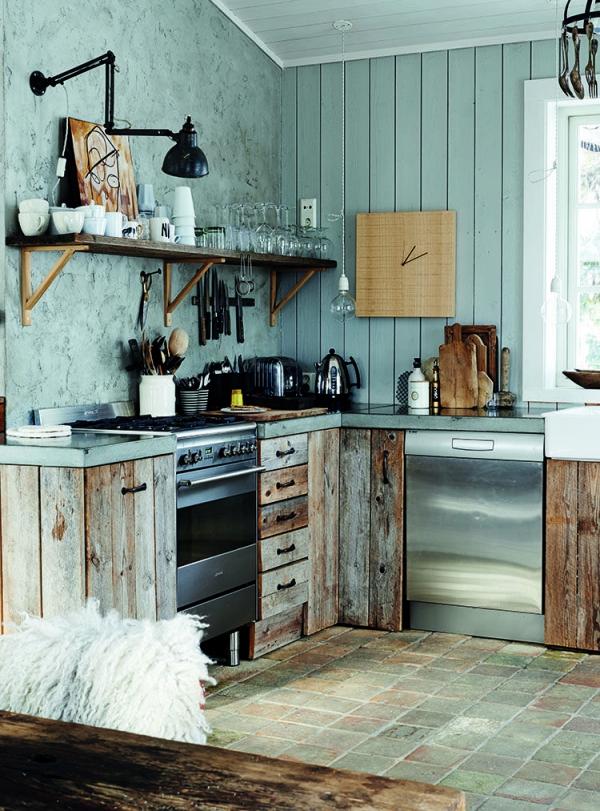 cuisine chalet mur en plâtre