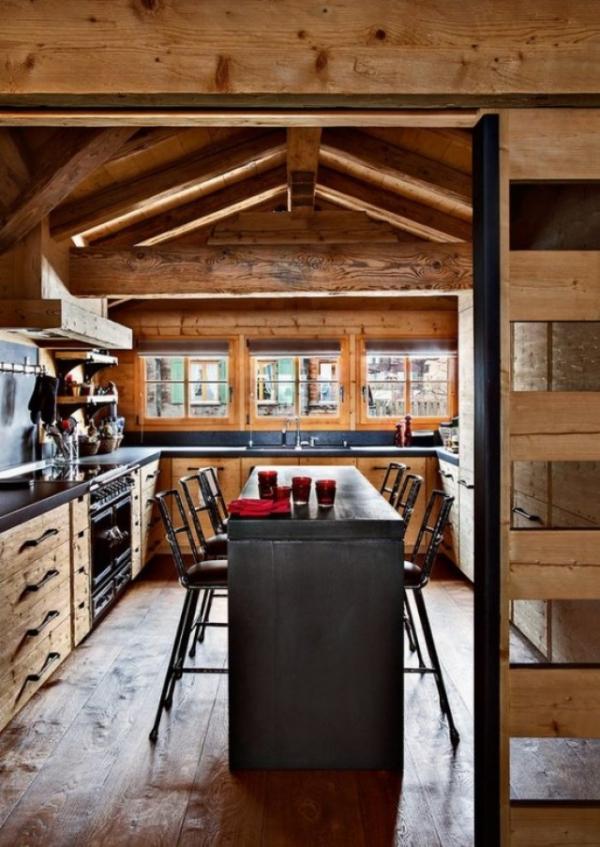 cuisine chalet une porte coulissante