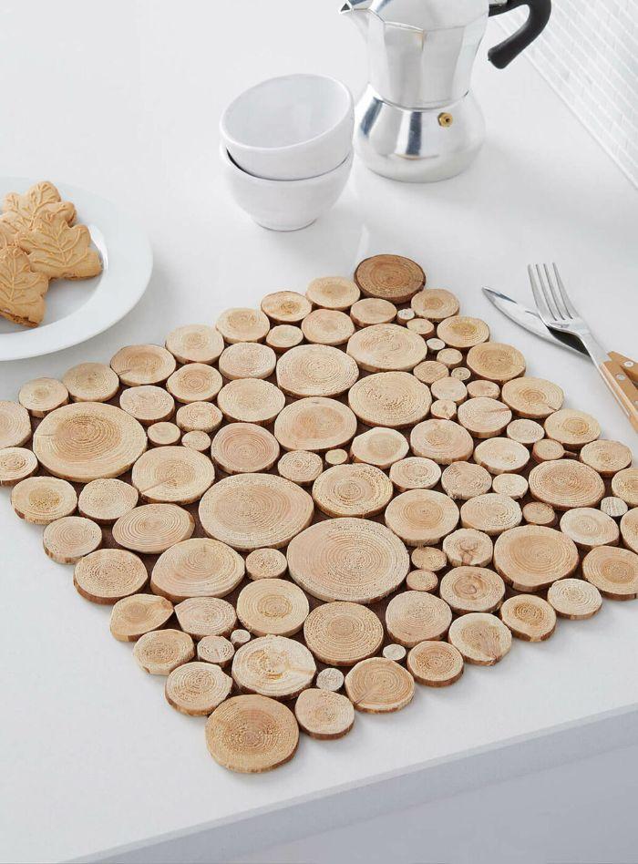 dessous de plat rondin de bois déco idées inspirantes pour créer une ambiance unique