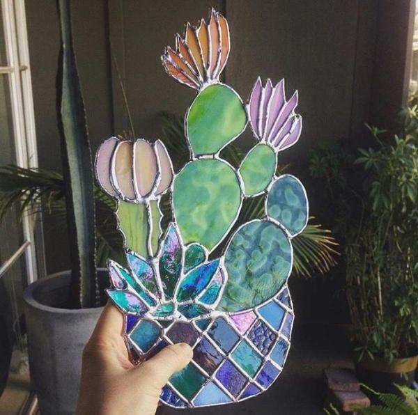 diy cactus en verre pour vitrail