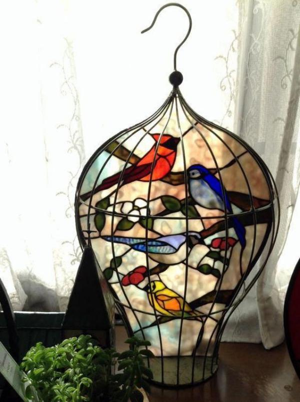 diy déco cage d'oiseaux verre pour vitrail