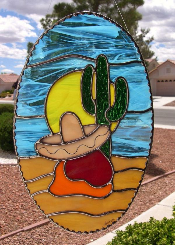diy déco fenêtre paysage désertique verre pour vitrail