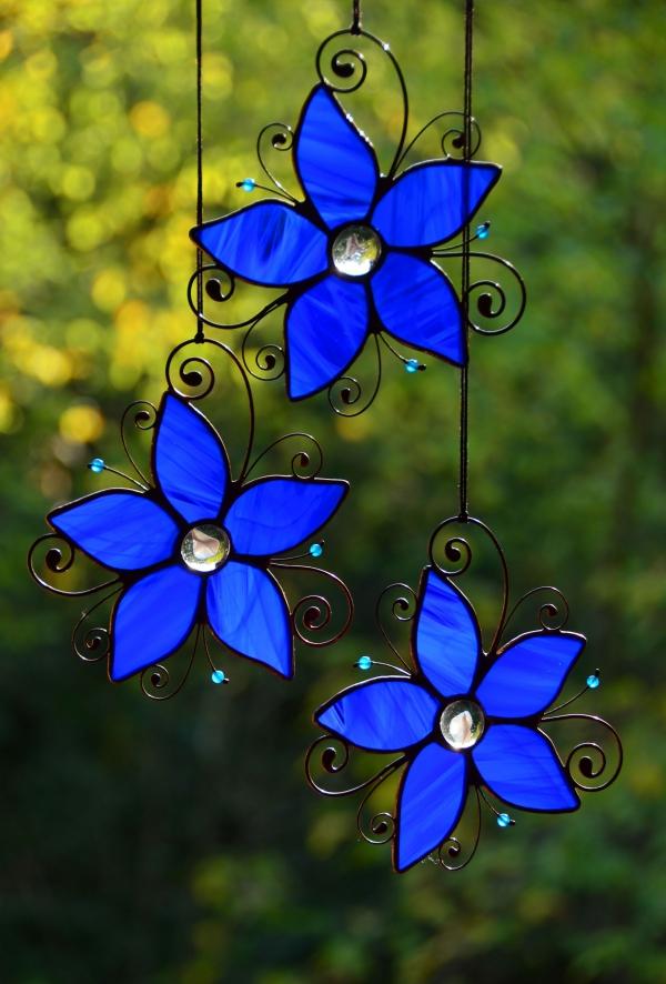 diy déco suspendue jardin fleurs de verre pour vitrail