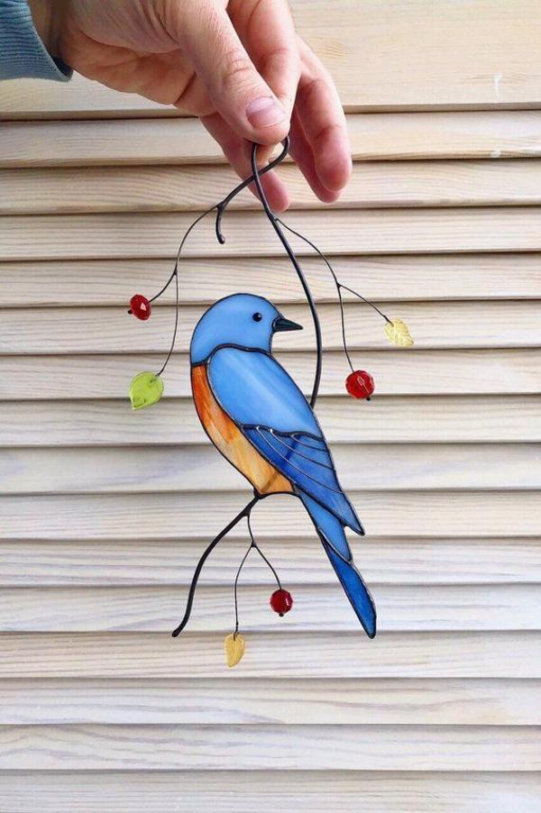 diy déco terrasse oiseau en verre pour vitrail