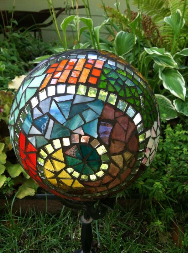 diy globe de jardin décoré de verre pour vitrail