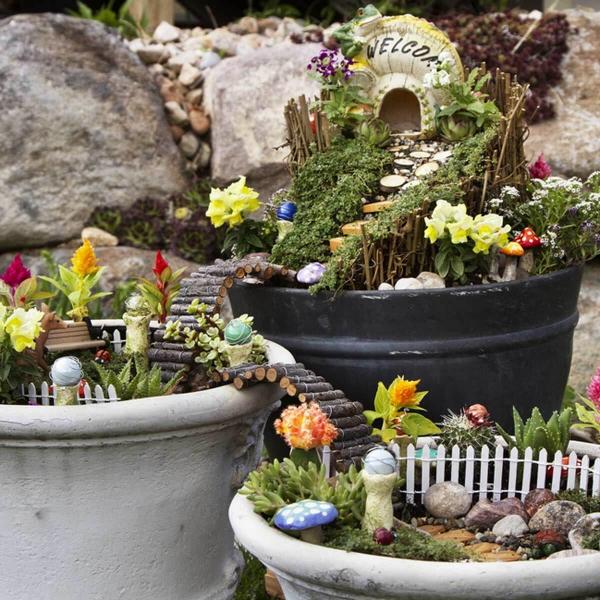 diy jardin de fée à trois niveaux avec des passerelles