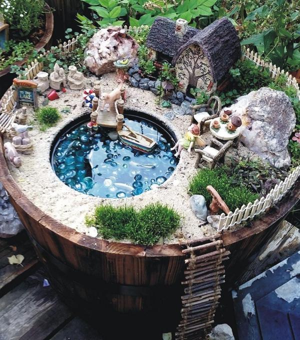 diy jardin de fée avec étang et petit pont