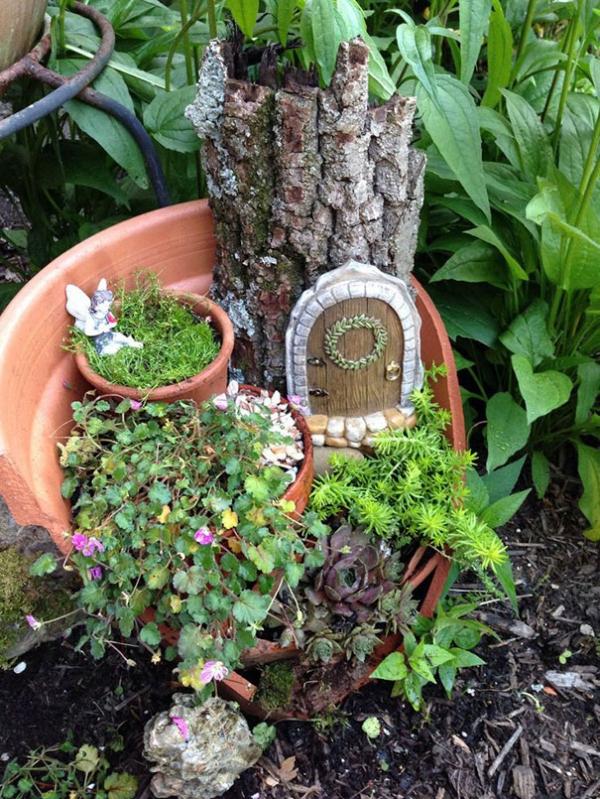 diy jardin de fée avec maison à partir de tronc d'arbre