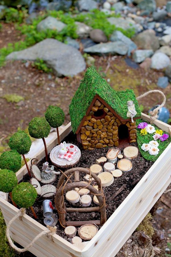 diy jardin de fée avec maison en pierre sentier de bois