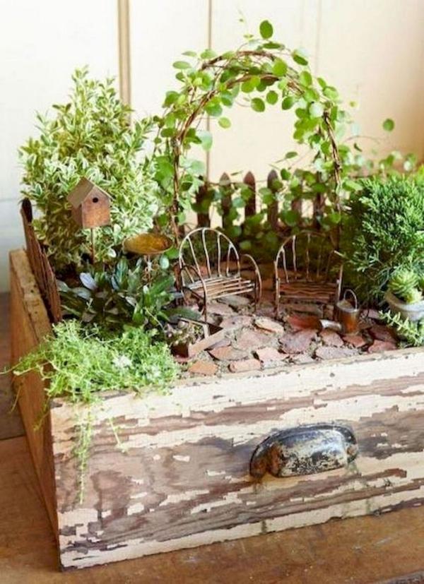 diy jardin de fée dans un ancien tiroir