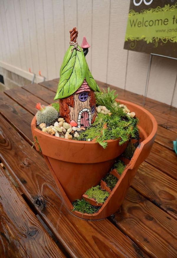 diy jardin de fée dans un pot en terre cuite