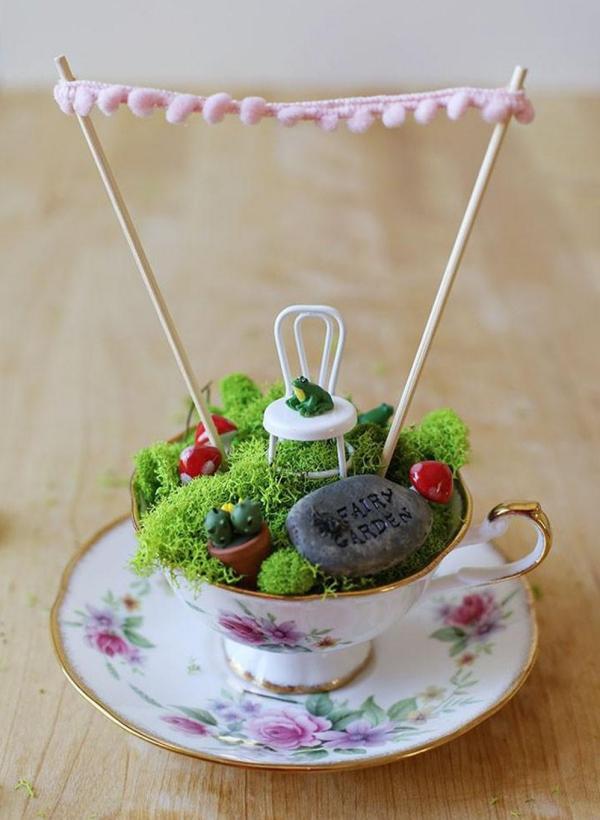 diy jardin de fée dans une tasse à thé