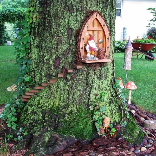 diy jardin de fée maison de gnome dans un arbre