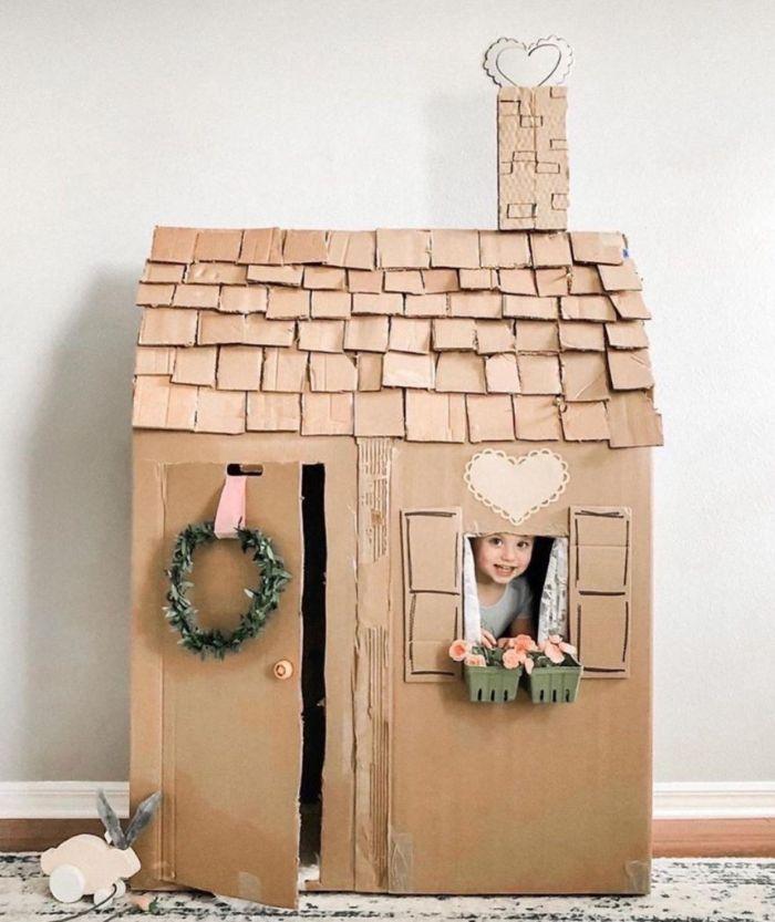 diy maison en carton cabane intérieur enfant