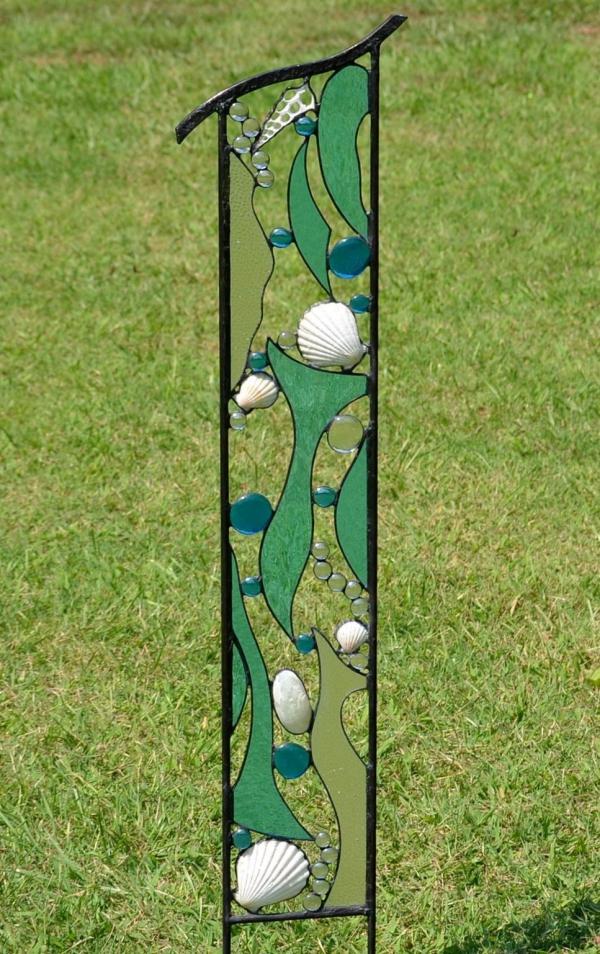 diy panneau décoratif de jardin fer verre pour vitrail coquillage