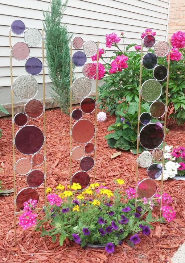 diy panneau décoratif jardin verre pour vitrail