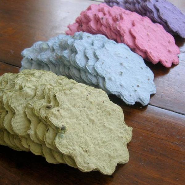 diy papier ensemencé fleurs colorées