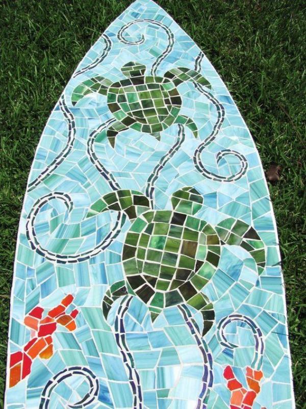 diy planche de surf décorée de verre pour vitrail