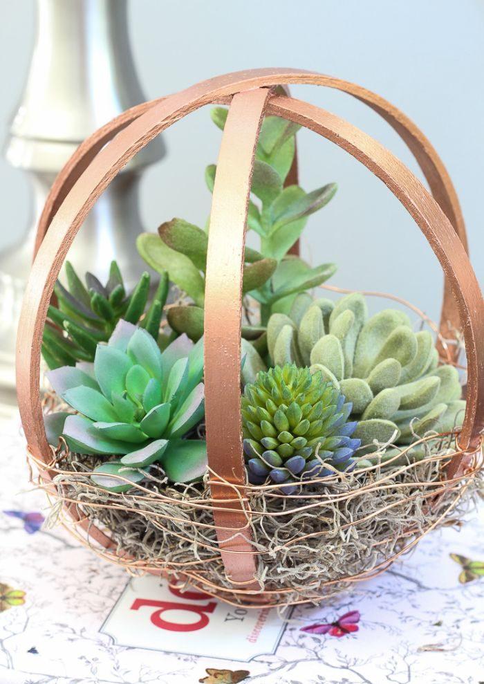 diy pot de fleurs avec tambour à broder
