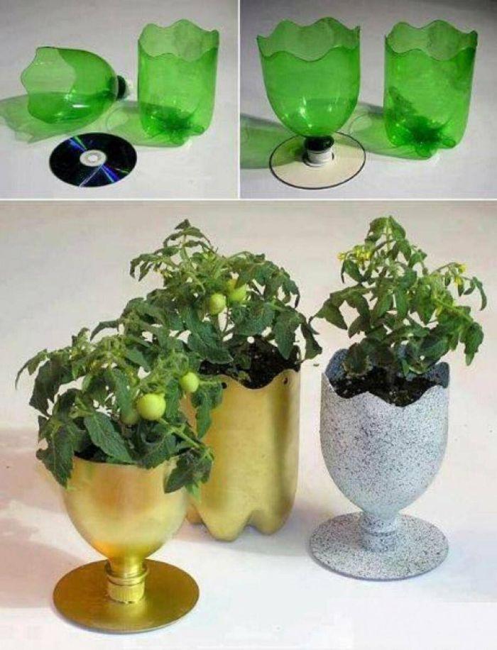 diy pot de fleurs recyclage bouteille plastique