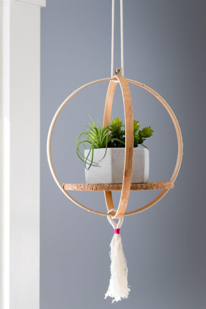 idée créative support pour pot de fleurs à suspendre