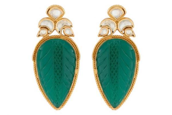 joaillerie éthique tendance boucles d'oreilles en onyx vert naturel et cristal