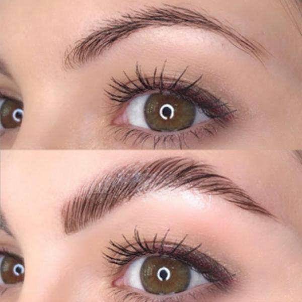 laminage sourcils avant et après