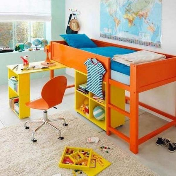 lit enfant mezzanine table de travail qui se retire