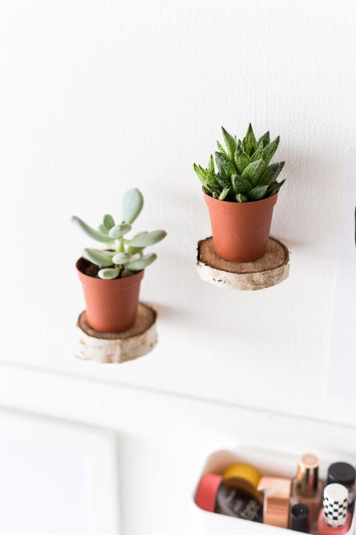 mini étagères rondin de bois déco idées inspirantes pour créer une ambiance unique
