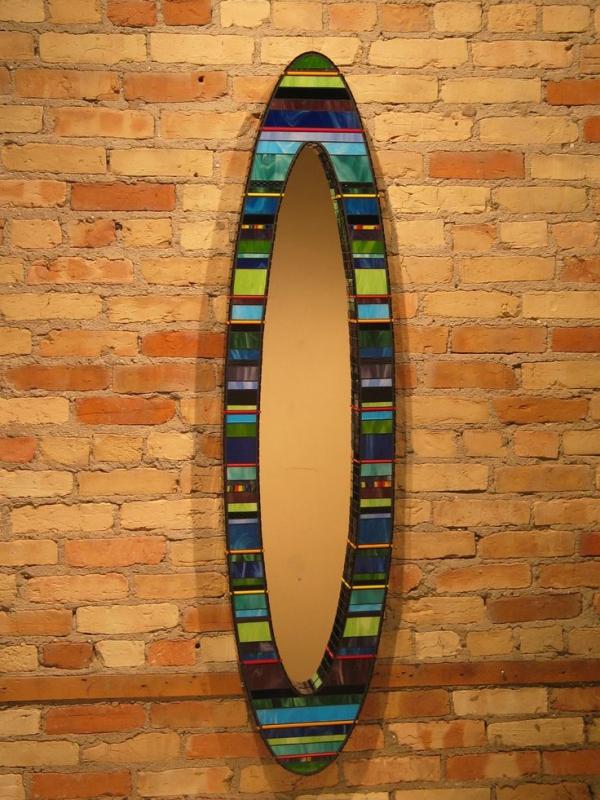 miroir décoré de verre pour vitrail