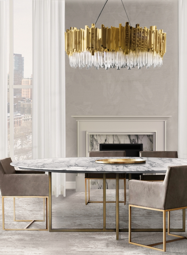or couleur dans l'intérieur lustre aux éléments dorés