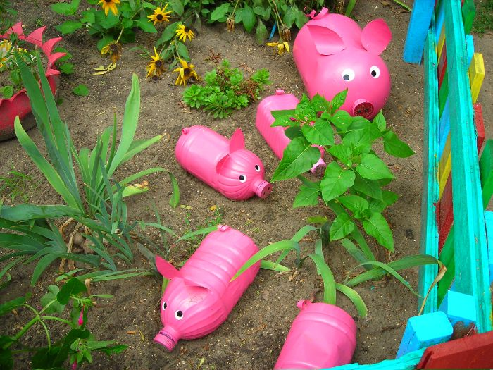 porcs roses recyclage bouteille plastique