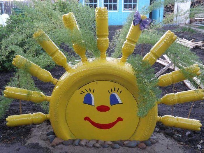 recyclage bouteille plastique soleil en plastique déco jardin