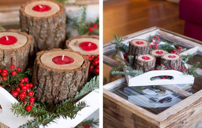 rondin de bois déco idées inspirantes pour créer une ambiance unique déco de table noël