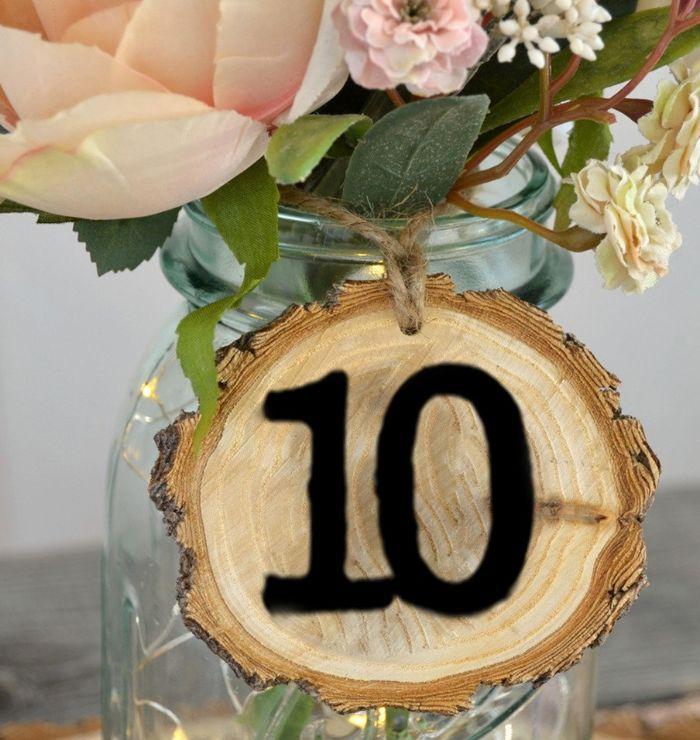 rondin de bois mariage marque-place