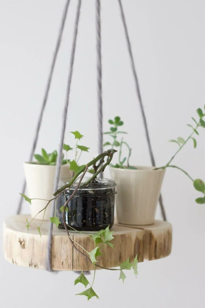 support de fleurs suspendu rondin de bois déco idées inspirantes pour créer une ambiance unique