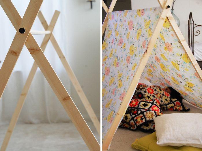 tipi diy cabane intérieur enfant en bois